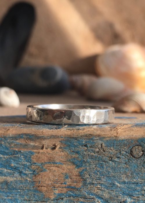 Shimmer - recycled silver square band ring