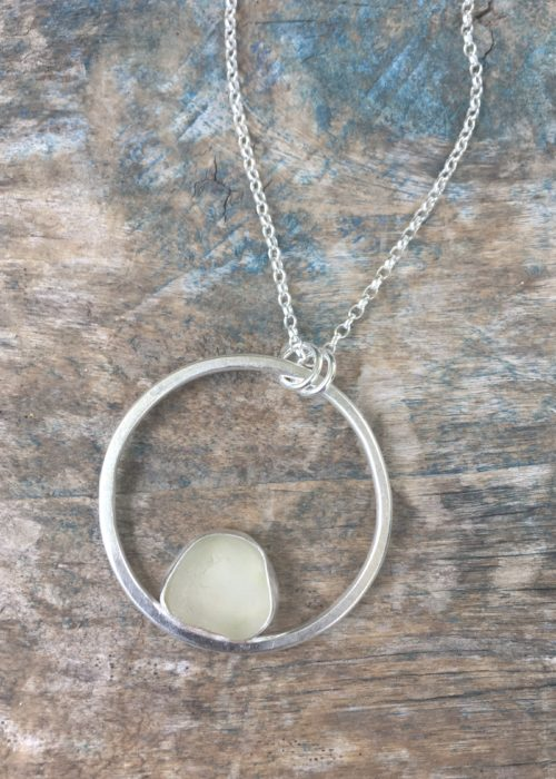 Dew sea glass circle pendant