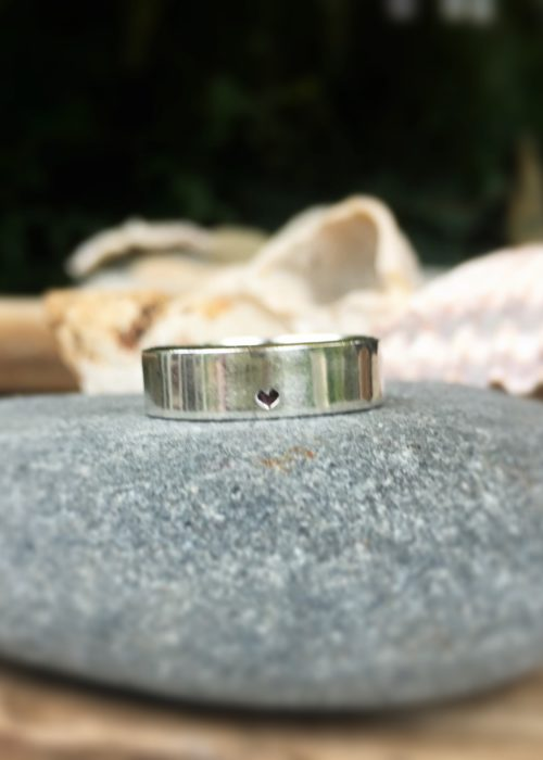 Heart - recycled silver wide band ring