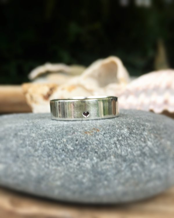 Heart – recycled silver wide band ring