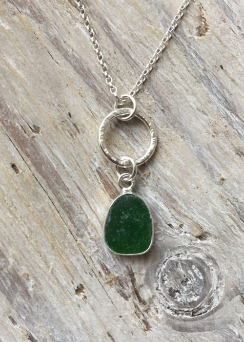 Green Sea Glass with Driftwood Circle Pendant
