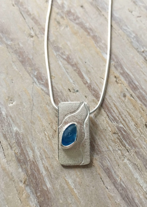 Ripples Blue Sea Glass Pendant