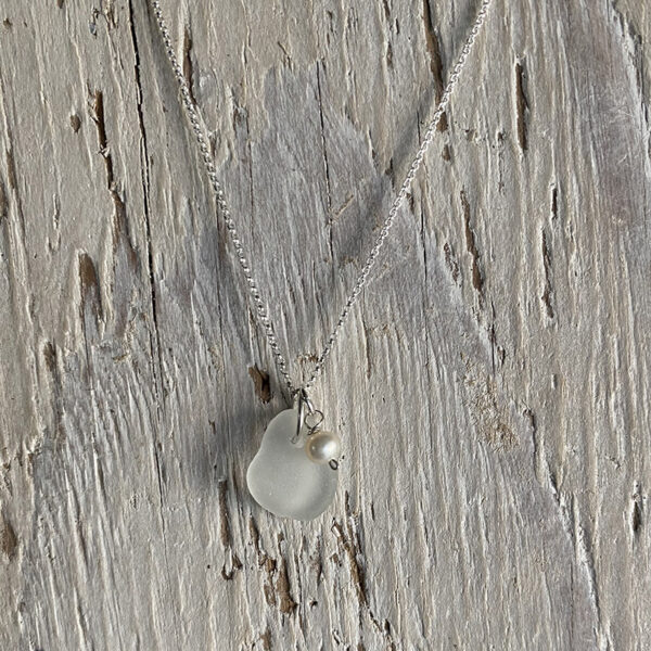 White Sea glass with freshwater pearl