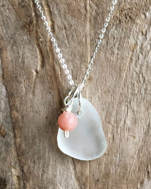 White Sea glass with pink opal