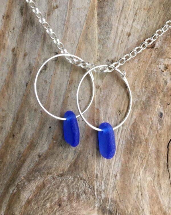 Cobalt blue sea glass hoop earrings