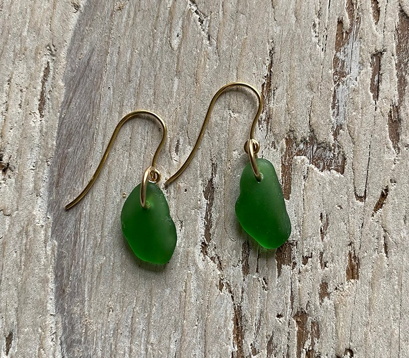Green seaglass on gold hooks
