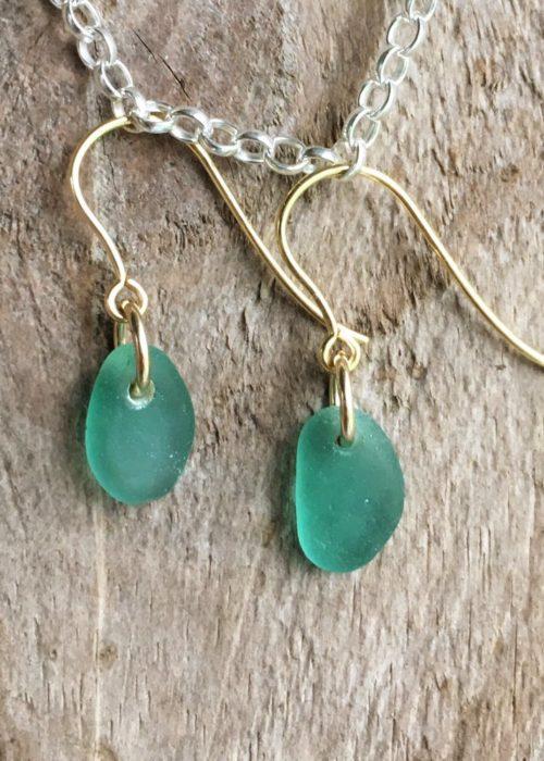 Sea green Sea glass on gold hooks