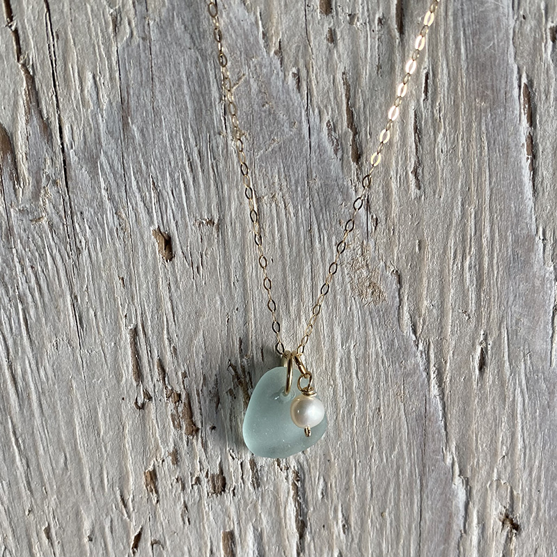 Sea foam sea glass and pearl pendant