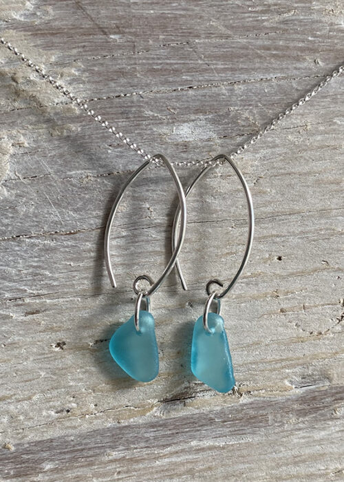 Turquoise sea glass earrings