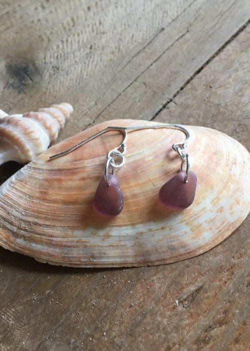 grape sea glass earrings