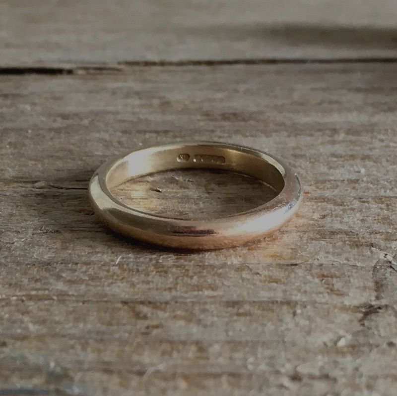 Gorwelion 3mm D recycled gold ring