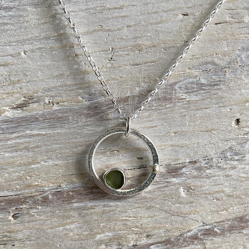 Jade sea glass circle pendant
