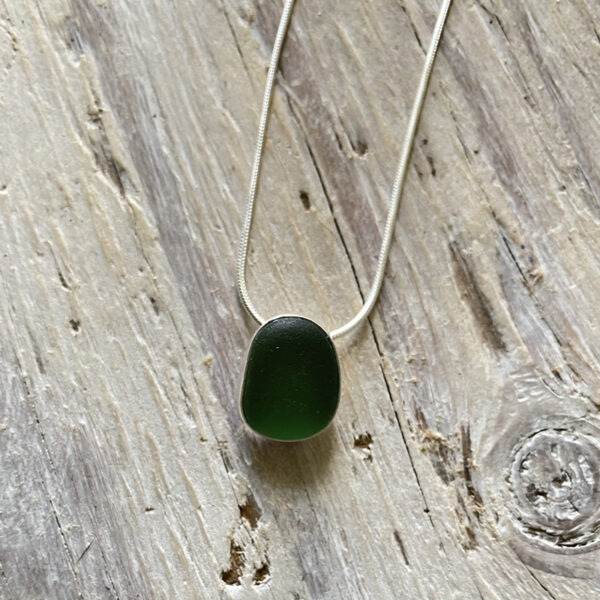Simple green sea glass pendant