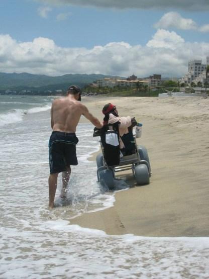 Beach wheelchair walk in Nuevo Vallarta