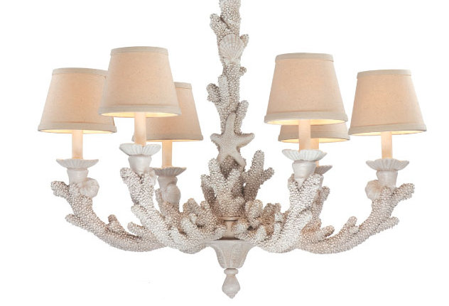 Coral Coastal Chandelier Decorated With Beach Style