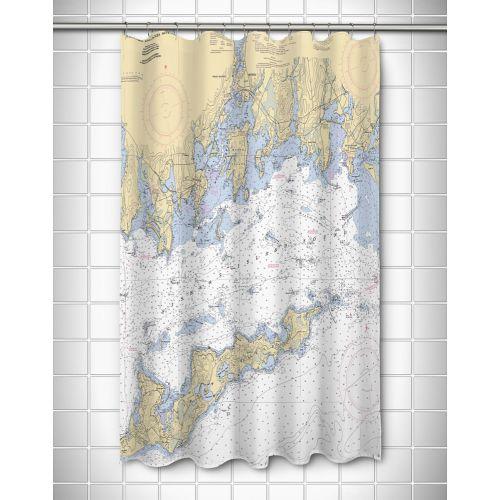 island girl ct fishers island sound ct nautical chart shower curtain