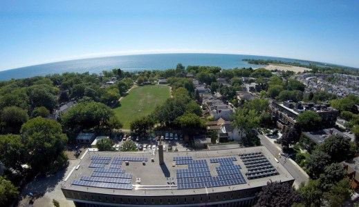 The completed solar roof at Kew Beach School