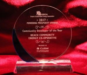 Ontario Sustainable Energy Association Award for Kew Beach School Solar Project