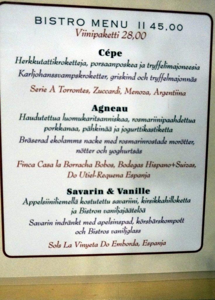 Bistro menu II