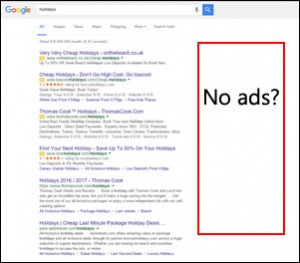 Google SERPs page, no right hand ads