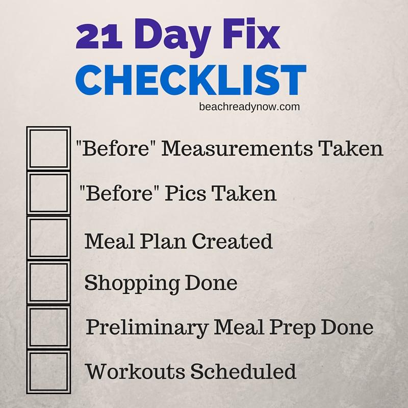 21 Day Fix Prep Checklist - Beachreadynow.com