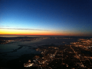 SF Bay at night from 5000 feet