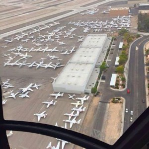 Private Jets pack Vegas Airport before the Mayweather-Pacquiao fight