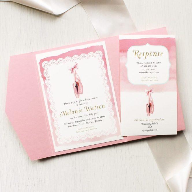 Sweet Ballerina Baby Shower Invitations