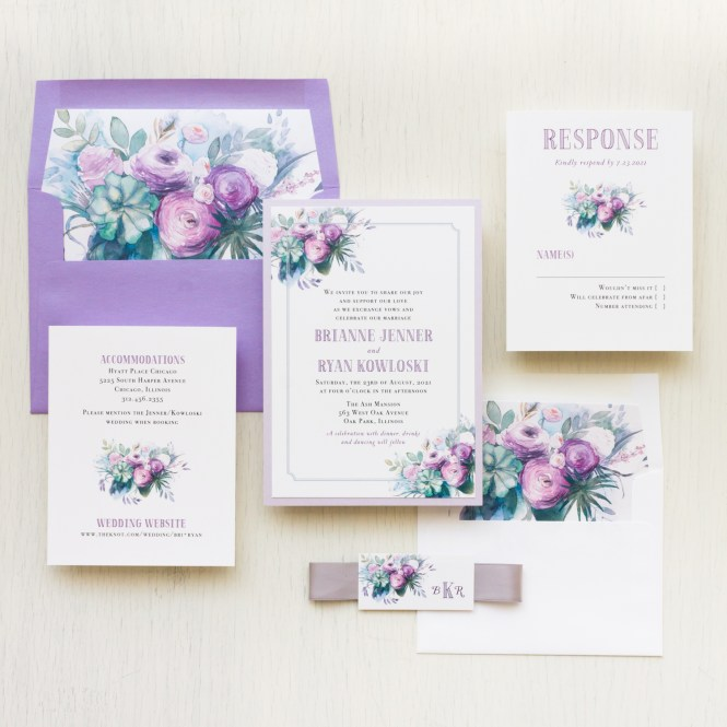 Watercolor Rose 2 Wedding Invitations