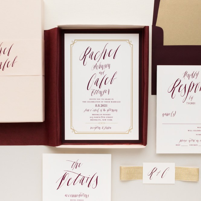 Blush Burgundy Boxed Wedding Invitations