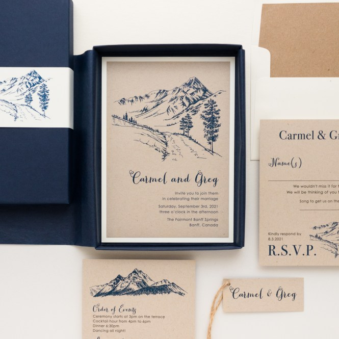 Navy Mountain Wedding Invitations