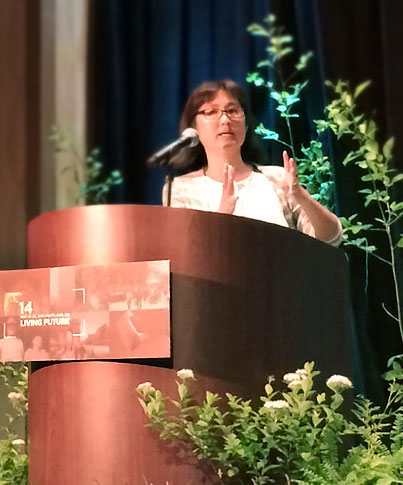 Maya Lin, keynote speaker, first evening at 2014 Living Future Unconference.