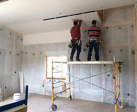 Drywall in barn workshop