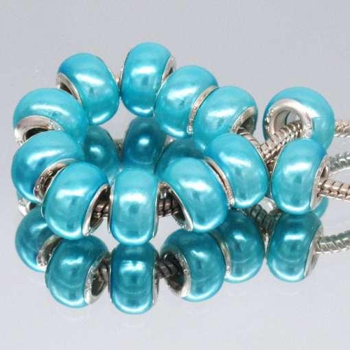 10pcs Fashion Pearl Cyan Acrylic European Beads