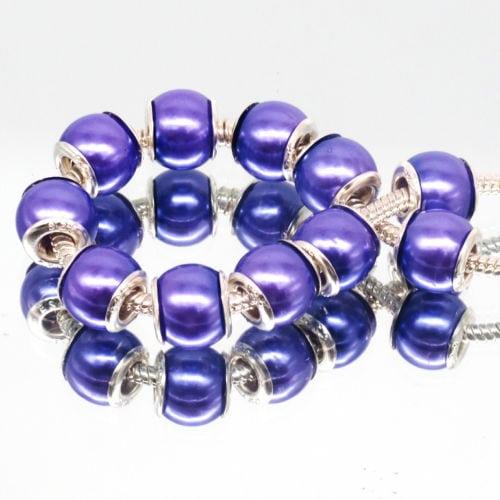 10pcs Fashion Pearl Purple Acrylic European Beads