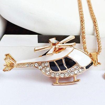 Betsey Johnson Black Helicopter Pendant