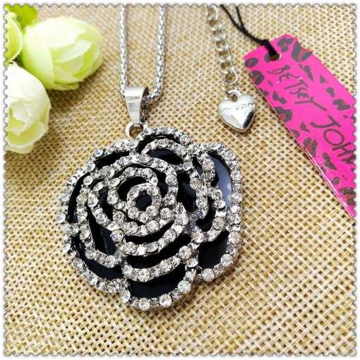 Betsey Johnson Black Rose Pendant