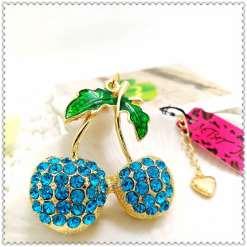 Betsey Johnson Blue Cherry Pendant