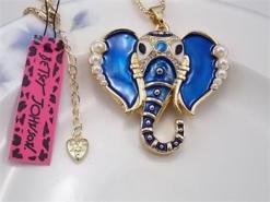 Betsey Johnson Blue Elephant Head Pendant