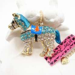 Betsey Johnson Blue Horse Pendant