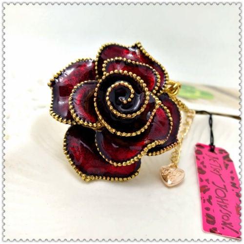 Betsey Johnson Burgundy Rose Pendant