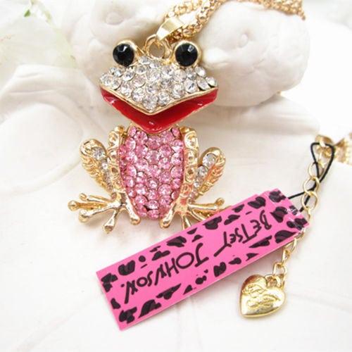 Betsey Johnson Pink Frog Pendant
