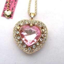 Betsey Johnson Pink Heart Gemstone Pendant