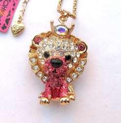 Betsey Johnson Pink Lion Pendant