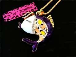 Betsey Johnson Purple Fish Pendant