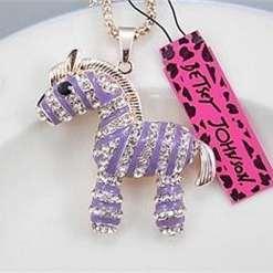 Betsey Johnson Purple-White Zebra Pendant