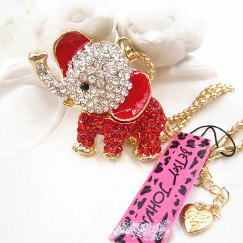 Betsey Johnson Red Baby Elephant Pendant