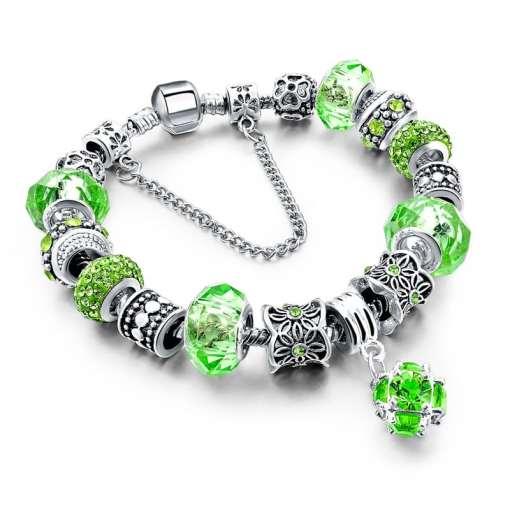 Green European Bracelet with Gemstone Pendant