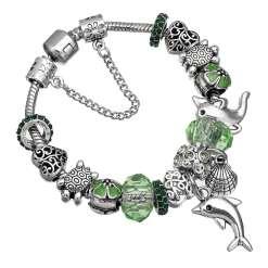Green European Bracelet with Nautical Theme