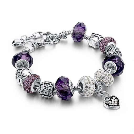 Purple European Bracelet with Heart Pendant